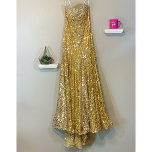 Beautiful Gold Sequin And Crystal Beaded Prom Gown